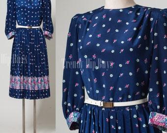 Vintage Dress blue dress 80s dress secretary dress floral dress - M/L