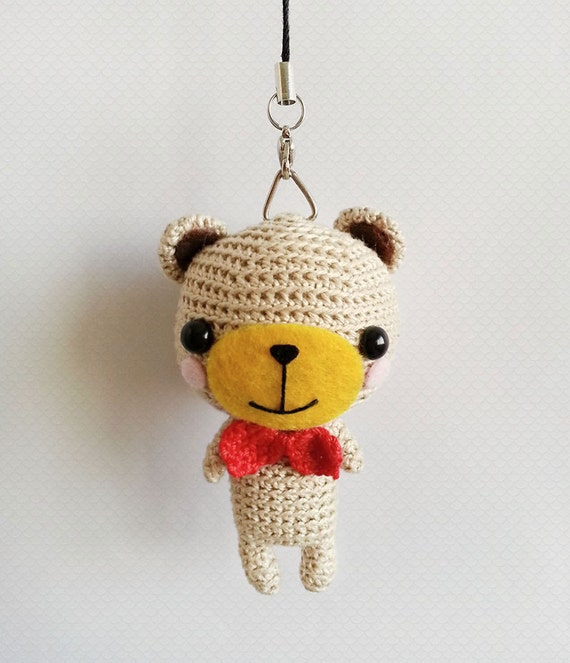 Crochet Purse Keychain Pattern : Crochet Bear Keychain Amigurumi Bear Bear Bag Charm Crochet