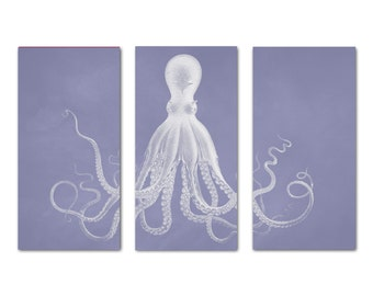 Octopus Print, Octopus Triptych, Lavender Coastal Decor, Beach Art, Coastal Art, Lord Bodner Octopus, Coastal Print, Octopus Art