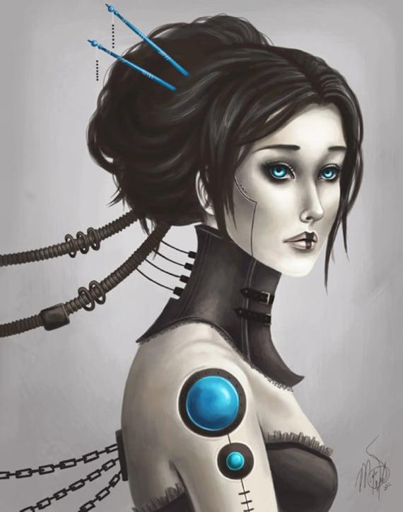 "8x10 fine art print - ""Andromeda"" Digital painting of a Victorian robot girl - sci fi Gothic Steampunk inspired artwork, feminine"
