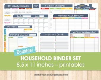 Household Binder Set Editable Organizing Printables, Household Management, Meal Planning and Kitchen Organization, Money Management
