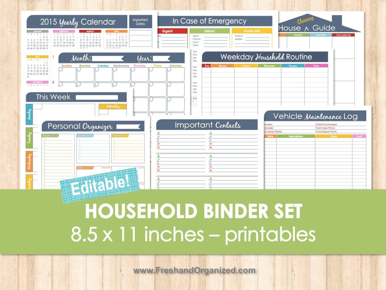 Household binder set editable organizing printables household for Home planning binder