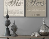 Mr and Mrs wedding Vow Wall Art on Stretched Canvas