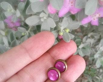 Stud earrings, purple studs,purple earrings,purple posts,Small 8mm studs,Elegant studs,silky purple studs