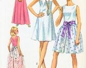 60s Cocktail Evening Prom Dress Pattern Flattering Princess Seams V Back, Overskirt  Simplicity 8641 Vintage Sewing Pattern Bust 38 UNCUT