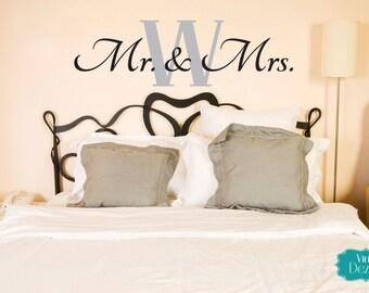 Mr. & Mrs. Wall Decal, Master Bedroom Vinyl Decal, Vinyl Lettering, Wall Words, Monogram, 15x25