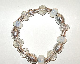Opal and Silver Toned European Style Completed Beaded Bracelet