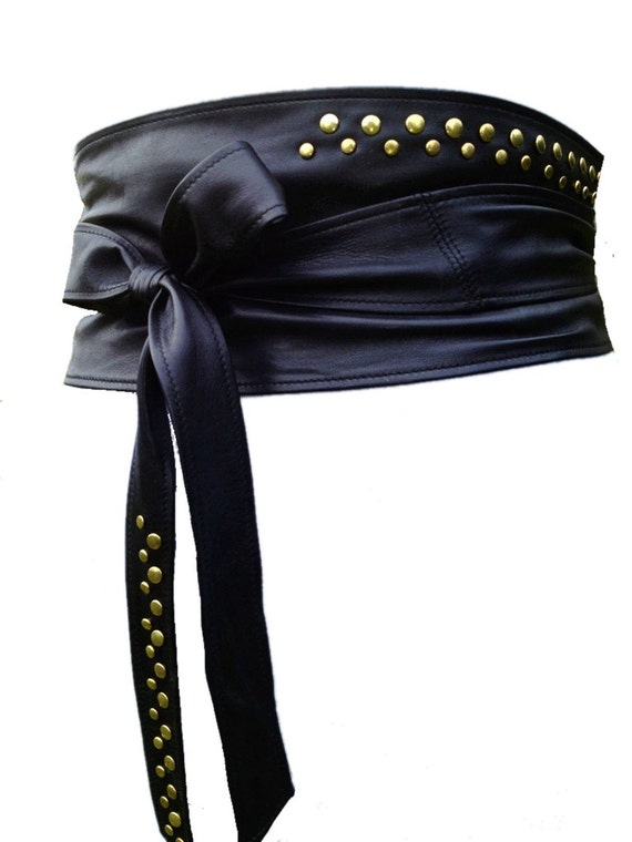 wide leather belt obi leather belt studded by scandaloalsole