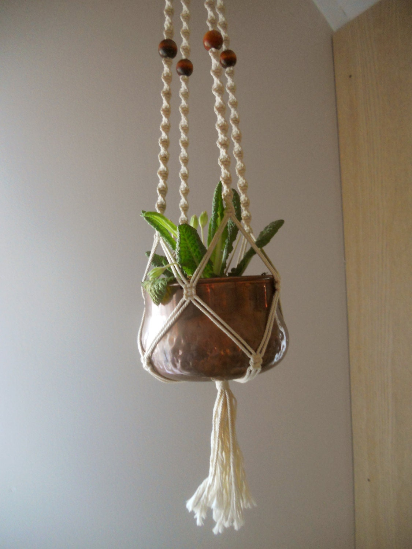 vintage macrame plant hanger white macrame flower pot holder. Black Bedroom Furniture Sets. Home Design Ideas