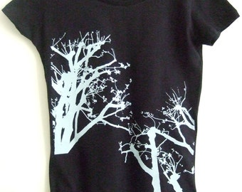 SALE Treetops Womens printed fitted T shirt cotton dark navy blue