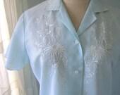 Lace Blouse, Summer Blouse, Summer Top, Sweet Lolita, Kawaii, Short Sleeve Blouse, Pastel BlueTop, Pastel Blue Blouse, Pale Blue Blouse