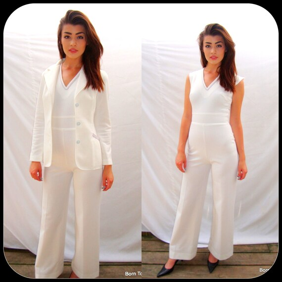 vintage women's mod jumpsuit, 1970s& jacket, hip, pants   white, carnaby st., rocker, disco,  size XS / SM