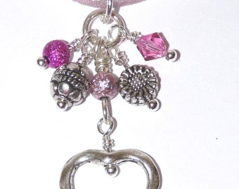 Necklace Swarovski Crystals Silver Charms and Ribbon, Hand Crafted, Ooak
