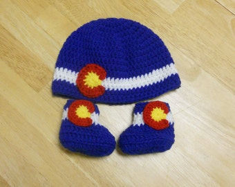 Crochet Colorado Flag Beanie and Baby Booties Set, Colorado Baby Booties, Newborn, 0-3 months, 3-6 months, Colorado Hat