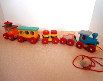 Wooden Toy Train Pull Toy - Hand Painted - Hand Crafted - Classic Toy - 5 Piece - Non Toxic - Brightly Colored - Heirloom Quality