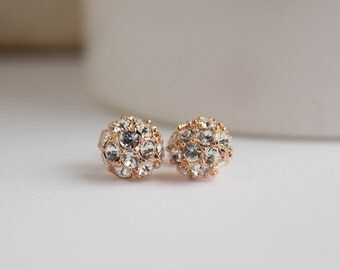 Rose Gold Studs, Rose Gold Earrings, 18k Rose Gold Sparkle Stud Earrings, Everyday Jewelry, bridesmaid jewelry,, bridal earrings