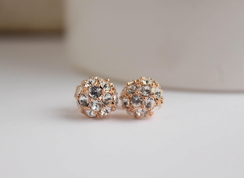rose gold studs rose gold earrings 18k rose gold sparkle. Black Bedroom Furniture Sets. Home Design Ideas