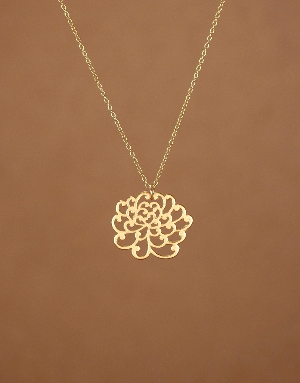 Lotus Necklace Gold Lotus Flower Necklace Yoga