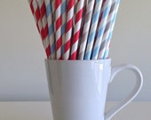 Paper Straws - Red, Light Blue and Light Gray / Grey and White Striped Paper Straws Birthday Wedding Baby Shower Bridal Shower Mix