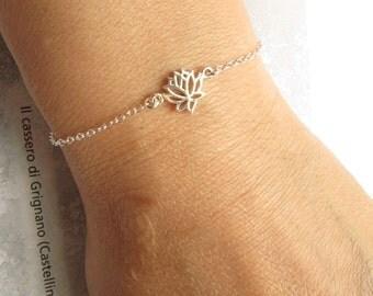 Sterling Silver Lotus Bracelet, Sterling Silver Bracelet, Zen Bracelet