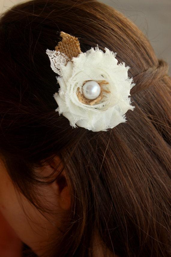 Burlap Wedding Hair Clip Rustic Wedding Accessory Barn