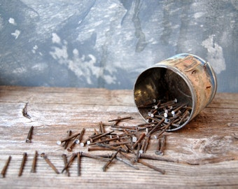 Antique Square Nails 1800s, Salvaged Lath Board Nails: Set of 10 - Steampunk Assemblage Art