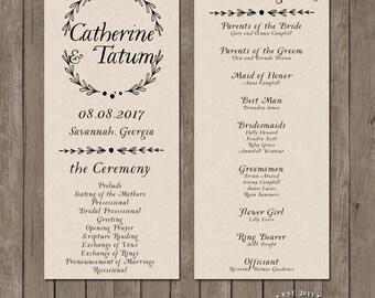 Printable Wedding Program - the Tinsley Collection