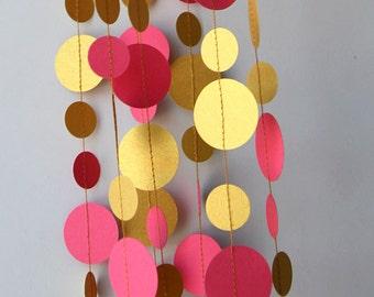 Pink Gold wedding garland, Gold pink garland, gold party decor, Paper garland, Birthday Decor, Wedding decoration, PKCG-5202