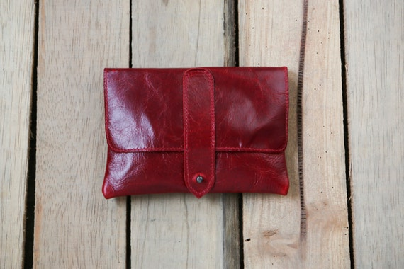 Rolling Tobacco Pouch Leather Cigarette Case Red By