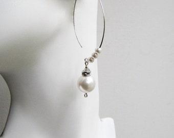 Long Pearl Earrings Sterling Silver Pearl Earrings Pearl and Crystal Earrings Large Pearl Earrings Wedding Earrings Swarovski Pearl Earring