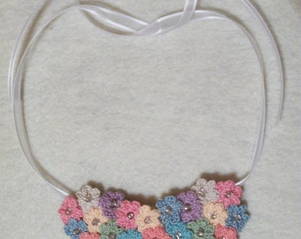 Crochet Flower Bunch Necklace Large