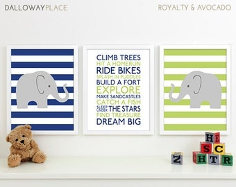 Baby Boy Art Chevron Elephant Nursery Decor, Subway Art Baby Boy Nursery Rules Playroom Rules Sign Family Rules Quote Safari Nursery Art