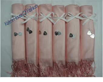So Beautiful Light Peach Pashmina Style Scarf, Bridesmaid, Wedding Keepsake, Pashmina Style Scarf Shawl - Ships from USA