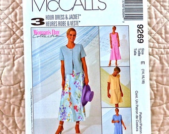 Dress Jacket, M L, McCalls 9269 Pattern, Scoop Neck, Princess Seams, Back Zipper, Boxy, One Button, 1998 Uncut, Size 14 16 18