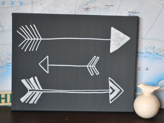 Gray Or Custom Color Arrow Canvas Painting Hand By