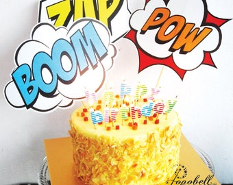 Superhero Cake Topper for Avengers Birthday Party.  In 3 designs! Superheroes Birthday Cake Topper for superhero party. Instant Download