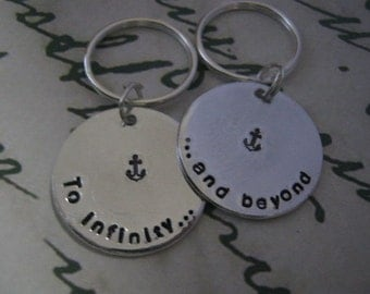 To infinity and beyond Keychain, Set of 2, Boyfriend girlfriend jewelry, Anniversary gifts for men, Long Distance Relationship, Disney