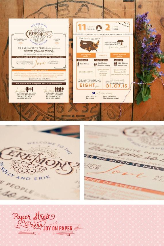 Wedding Programs - Rustic Vintage Infographic - Printable Ceremony Programs - Hadley