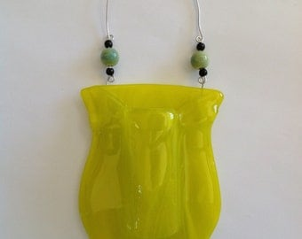 Fused Glass Wall Pocket with beaded detail