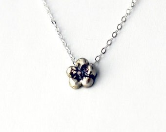 Tiny Flower Sterling Silver Necklace