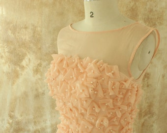 Peach handemade flower bridesmaid dress with illusion neckline