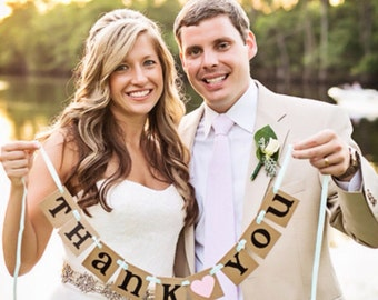 mini Thank You Banner / Wedding Garland / Rustic Banner / Thank You Card / Photo Prop / Wedding Thank You/ Wedding Decoration