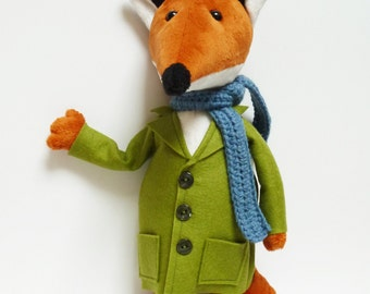 Fox plush - Stuffed fox - Fox toy - Mister Fox -  Fox Soft Sculpture - stuffed toy - plush toy