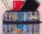 Unique Recycled Mayan Fabric Coin Purse, Jewelry Bag, Travel Zipper Pouch, Fair Trade, Eco Friendly, 3 Zipper Pockets