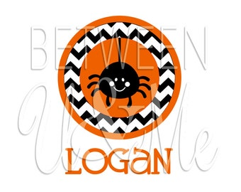 Personalized Spider Chevron Halloween Orange Black Baby Trick Or Treat Fall Iron On Decal Vinyl for Shirt