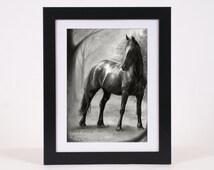 Horse art PRINT, horce pencil drawing GICLEE PRINT, black horse art poster wall art decoration, hyperrealism home decor