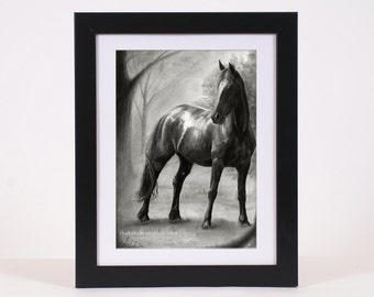 Horse art PRINT, horce pencil drawing GICLEE PRINT, black horse art poster wall art decoration, hyperrealism home decor