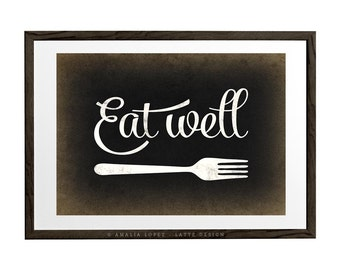 Kitchen art. Eat well. Kitchen print kitchen wall art Kitchen decor kitchen poster Eat well print Black and white print  UK
