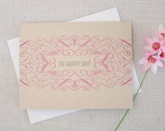 Oh Happy Day! Wedding Congratulations Card / Engagement Congratulations Card / Modern Stationery