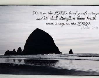 BIble Verse Wall Plaque - Wait on the LORD: be of good courage Psalm 27 Inspirational Art